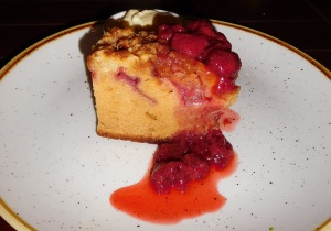 8rhubarb crumble cake with vanilla ice-cream & strawberry coulis
